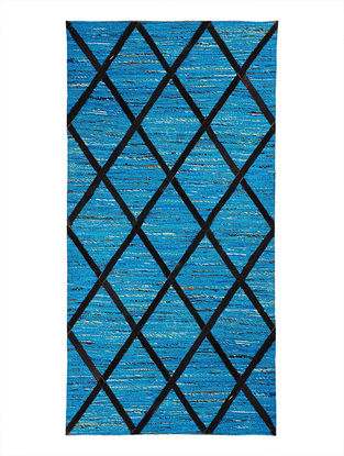 Blue-Black Handwoven Silk and Leather Dhurrie