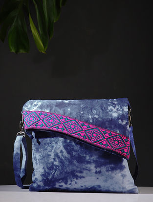 Indigo Tie and Dye Cotton Sling Bag with Handwoven Borders