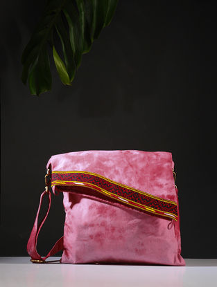 Pink-Red Tie and Dye Cotton Sling Bag with Handwoven Borders