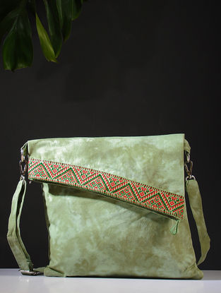 Green Tie and Dye Cotton Sling Bag with Handwoven Borders