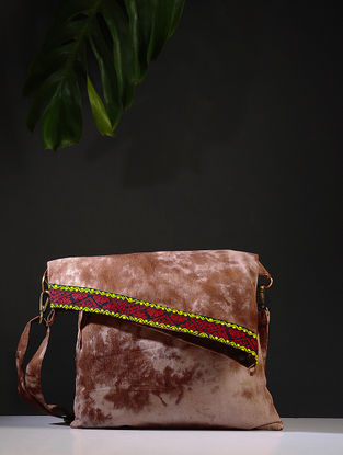Beige-Brown Tie and Dye Cotton Sling Bag with Handwoven Borders