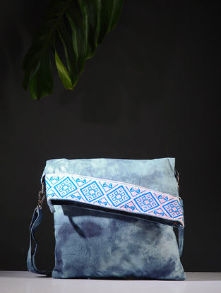 Blue-Grey Tie and Dye Cotton Sling Bag with Handwoven Borders