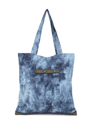 Blue-Grey Tie and Dye Cotton Tote with Handwoven Borders and Pockets
