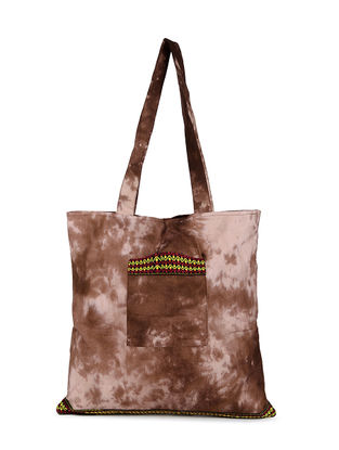 Beige-Brown Tie and Dye Cotton Tote with Handwoven Borders and Pockets