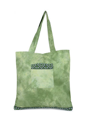 Green Tie and Dye Cotton Tote with Handwoven Borders and Pockets
