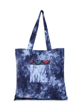 Indigo Tie and Dye Cotton Tote with Handwoven Borders and Pockets
