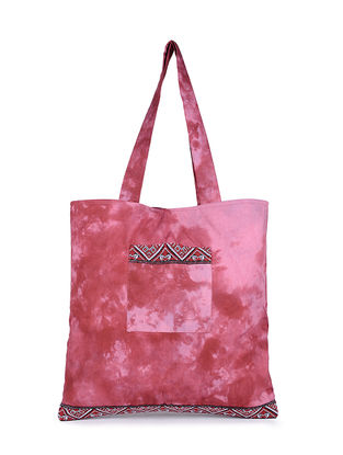 Pink-Red Tie and Dye Cotton Tote with Handwoven Borders and Pockets