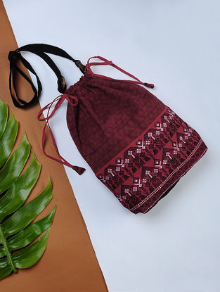 Red Handwoven Cotton Potli Sling with Assamese Motif