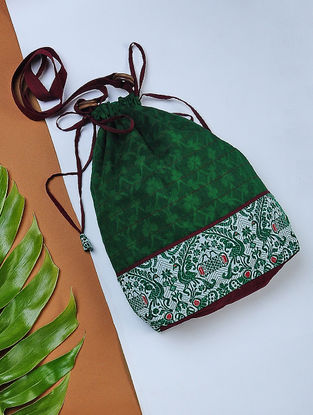 Green Handwoven Cotton Potli Sling with Assamese Motif