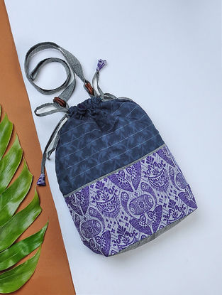 Blue Handwoven Cotton Potli Sling with Assamese Motif