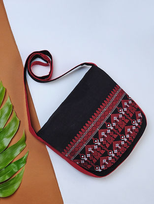 Black-Red Handwoven Cotton Sling Bag with Assamese Motif