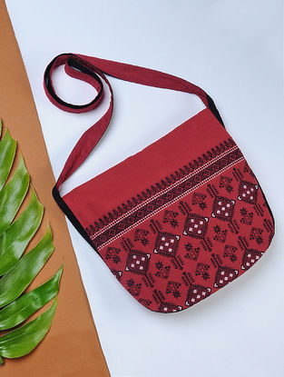 Red-Black Handwoven Cotton Sling Bag with Assamese Motif