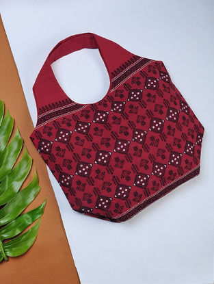 Red-Black Handwoven Cotton Hobo Bag with Assamese Motif