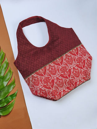 Red Handwoven Cotton Hobo Bag with Assamese Motif