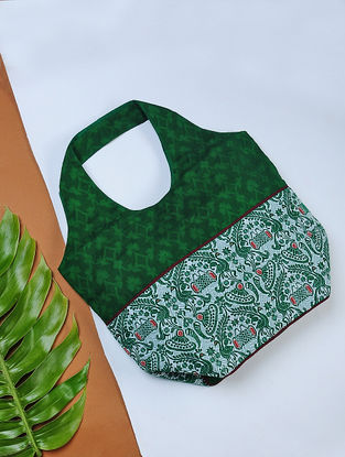 Green Handwoven Cotton Hobo Bag with Assamese Motif