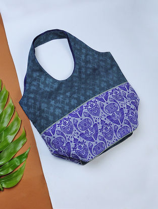 Blue Handwoven Cotton Hobo Bag with Assamese Motif