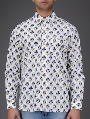 White-Blue Block-printed Full Sleeve Cotton Shirt