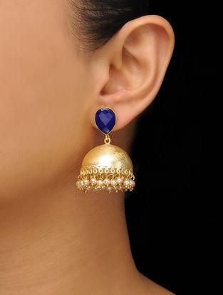 Blue Gold Tone Onyx Brass Jhumkas