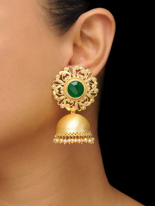 Green Gold Tone Onyx Brass Jhumkas