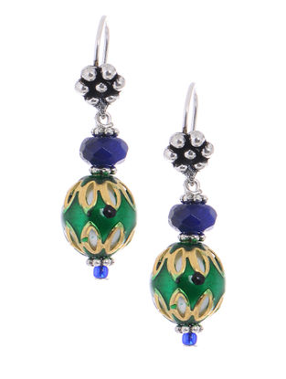 Agate Meenakari Brass Earrings