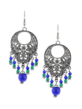 Blue-Green Brass Earrings