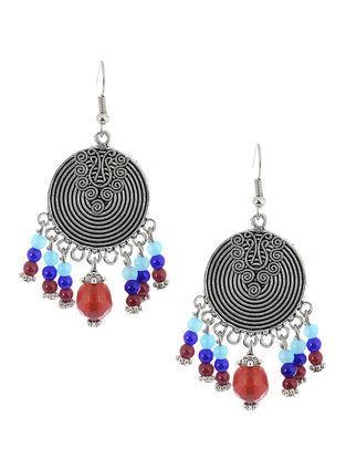 Blue-Red Brass Earrings
