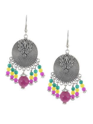 Pink-Green Brass Earrings