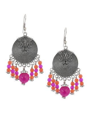 Pink-Orange Brass Earrings