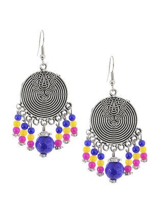 Blue-Pink Brass Earrings