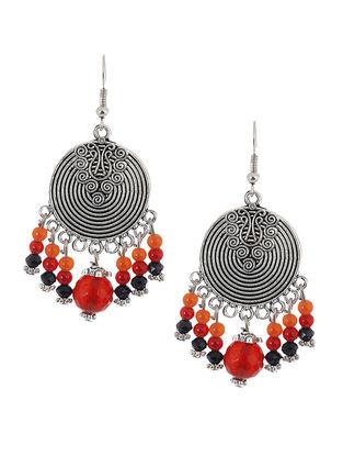 Red-Black Brass Earrings