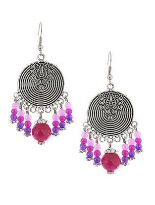 Pink-Purple Brass Earrings