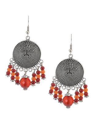 Red-Orange Brass Earrings