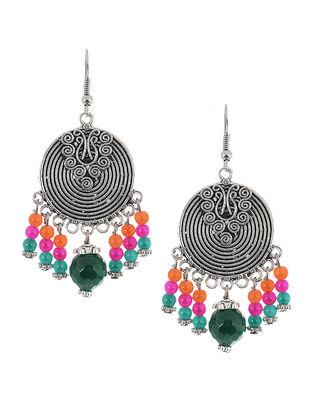 Green-Pink Brass Earrings