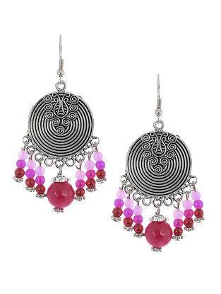 Pink-Red Brass Earrings