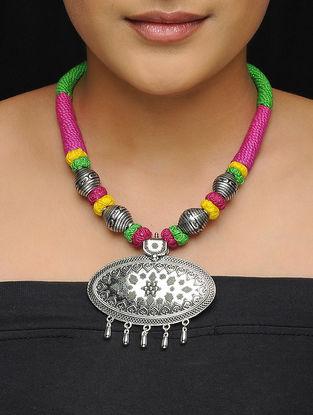 Pink-Green Thread Brass Necklace