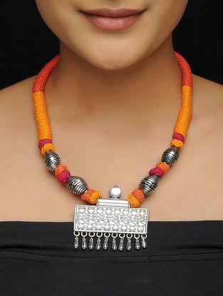 Orange-Pink Thread Brass Necklace