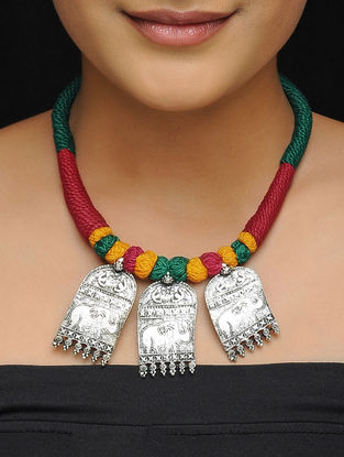 Green-Red Thread Brass Necklace