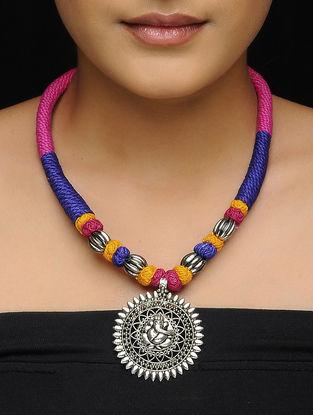 Blue-Pink Thread Brass Necklace Lord Ganesha Motif