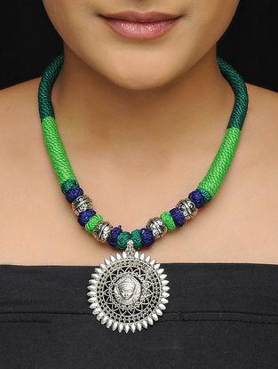 Green-Blue Thread Brass Necklace Goddess Durga Motif