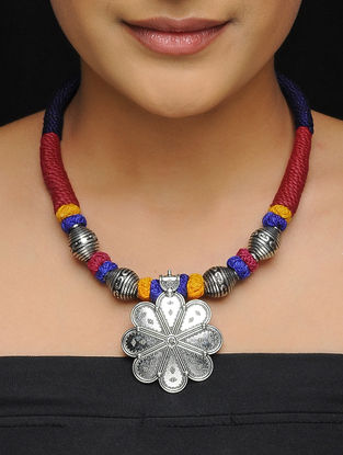 Blue-Maroon Thread Brass Necklace with Floral Design
