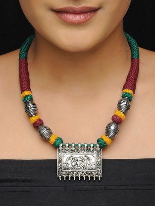 Green-Maroon Thread Brass Necklace