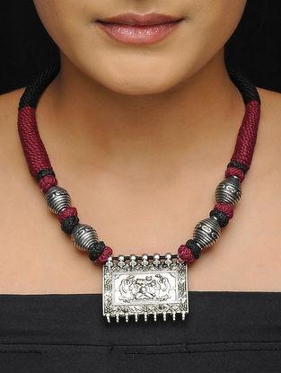 Maroon-Black Thread Brass Necklace