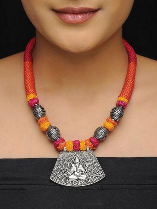 Pink-Orange Thread Brass Necklace with Lord Ganesha Motif