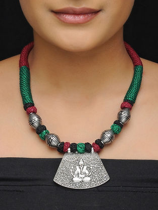 Green-Maroon Thread Brass Necklace with Lord Ganesha Motif