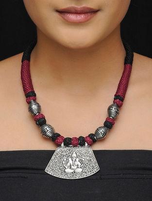 Maroon-Black Thread Brass Necklace with Lord Ganesha Motif