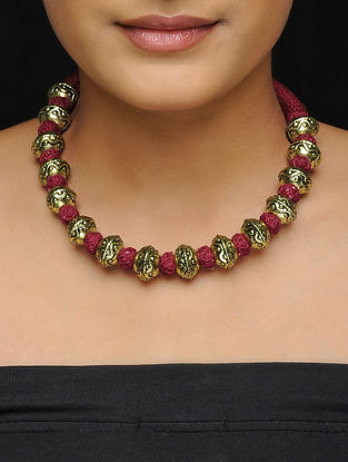 Maroon Thread Gold Tone Brass Necklace