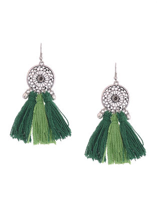 Green Tassels Earrings