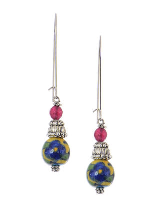 Hand-painted Blue Pottery Ceramic Earrings