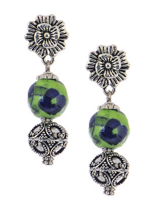 Hand-painted Blue Pottery Ceramic Earrings with Floral Design