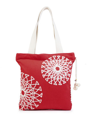 Red - Ivory Cotton Canvas Tote with Snowflake - Inspired Yarn Embroidery